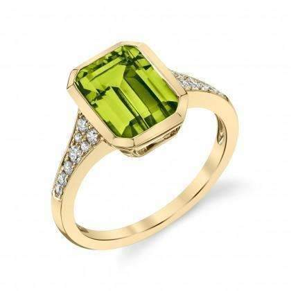 Stanton Color Emerald Cut Peridot & Diamond Ring