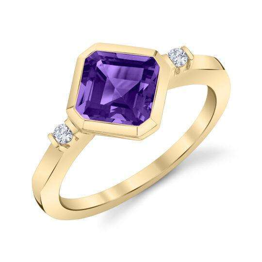 Stanton Color Octagonal Amethyst and Diamond Bezel Ring