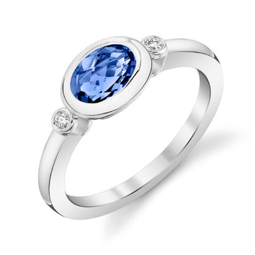Stanton Color Oval Tanzanite and Diamond Bezel Ring