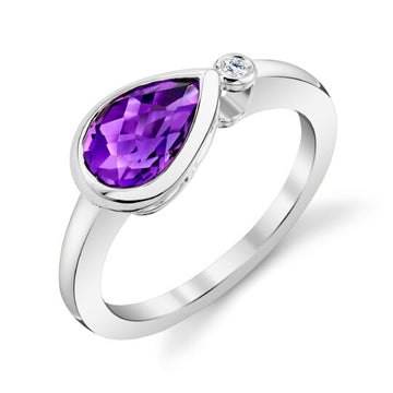 Stanton Color Pear Shaped Amethyst and Diamond Bezel Ring