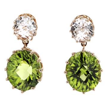 Stanton Color Peridot and Goshenite Dangle Earrings