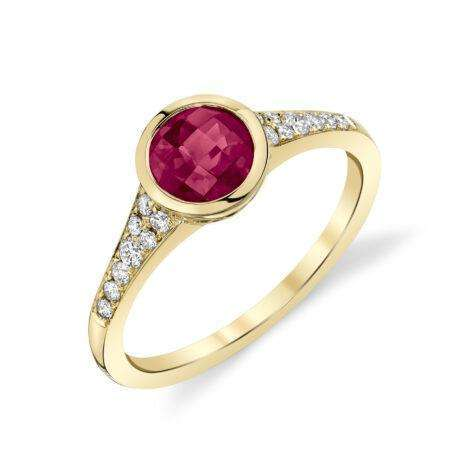 Stanton Color Rhodolite Garnet Bezel Diamond Ring