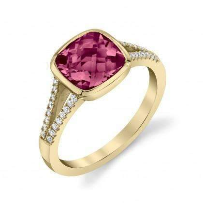 Stanton Color Rhodolite Garnet & Diamond Split Shoulder Ring