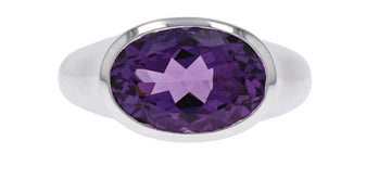 Sterling Silver & Amethyst Oval Ring