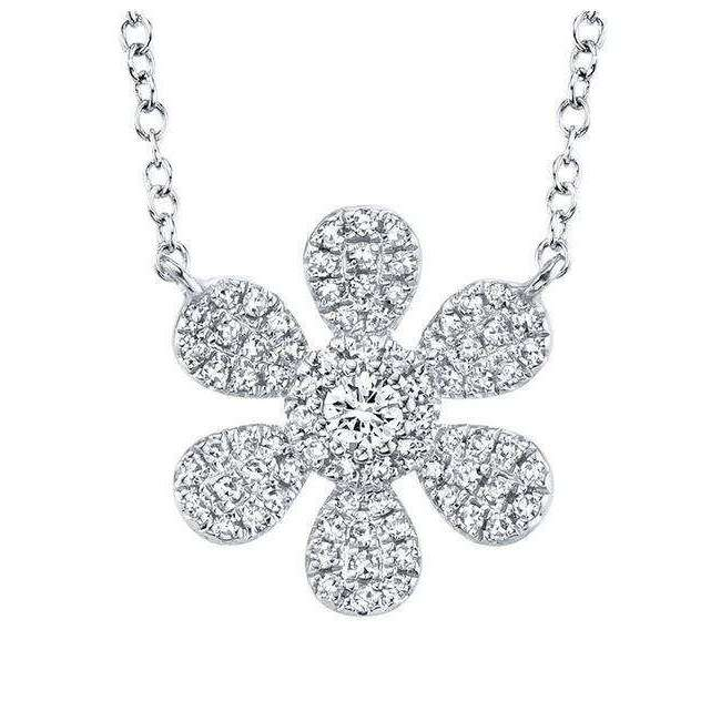 Shy Creation's White Gold Flower Pendant