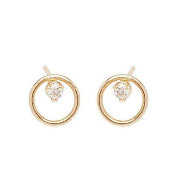 Zoe Chicco Circle Diamond Prong Studs