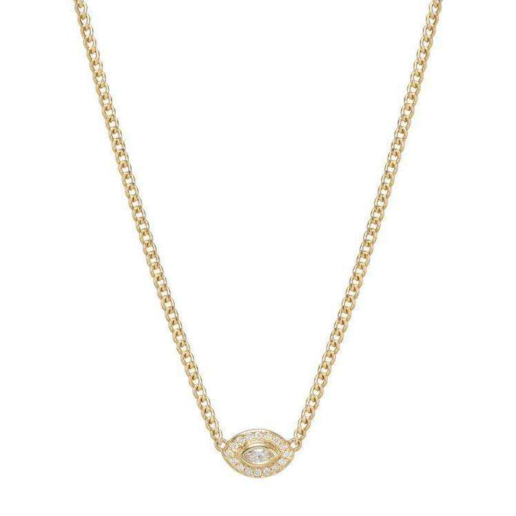 Zoe Chicco Diamond Halo Necklace with a Marquis Diamond