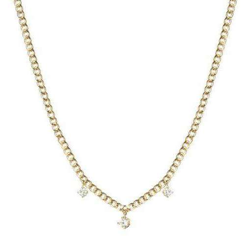 Zoe Chicco Extra Small Curb Chain Necklace with 3 Prong Diamonds