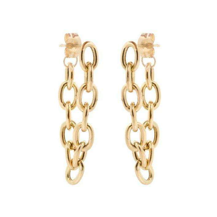 Zoe Chicco Large Oval Link Chain Hoop Earrings