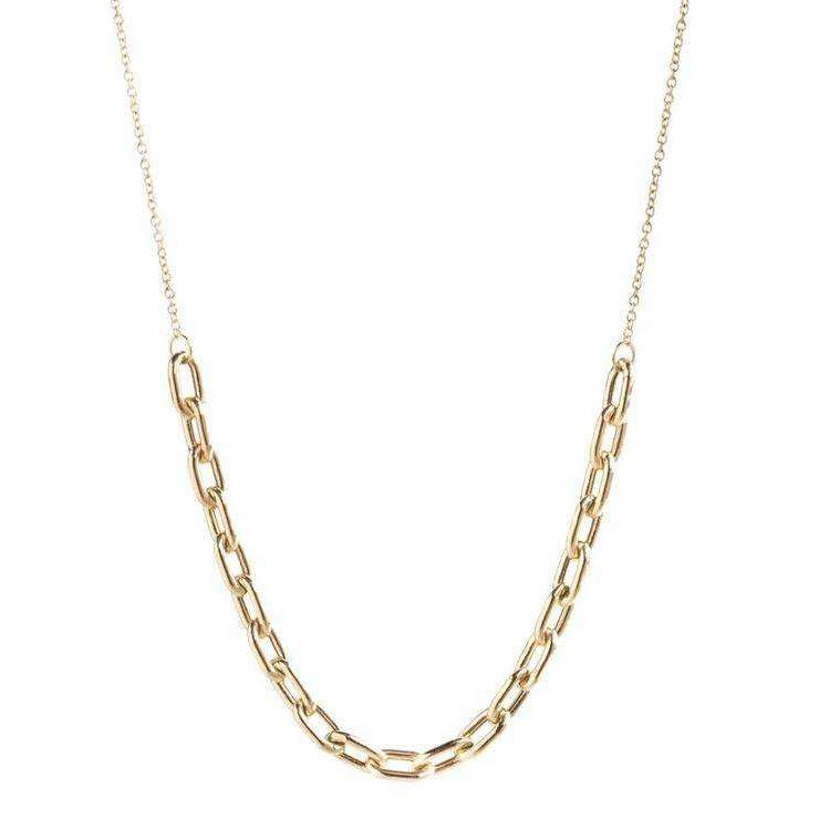 Zoe Chicco Large Oval Link Station Chain Necklace