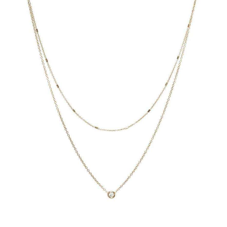 Zoe Chicco Layered Tiny Bar Chain and Floating Diamond Necklace