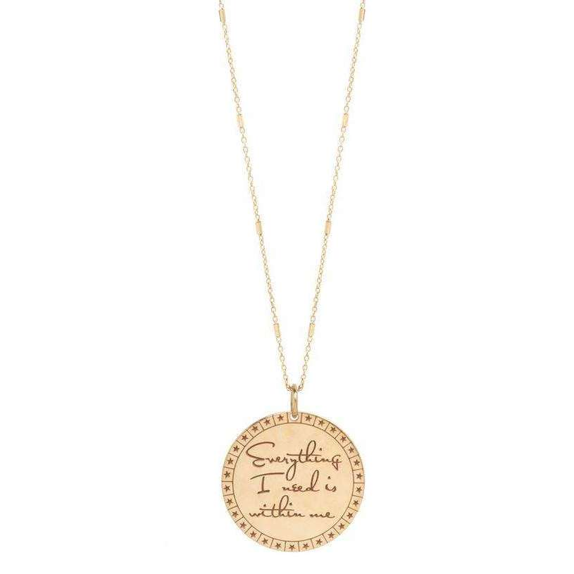 Zoe Chicco Medium Mantra Necklace on a Tiny Bar and Cable Chain