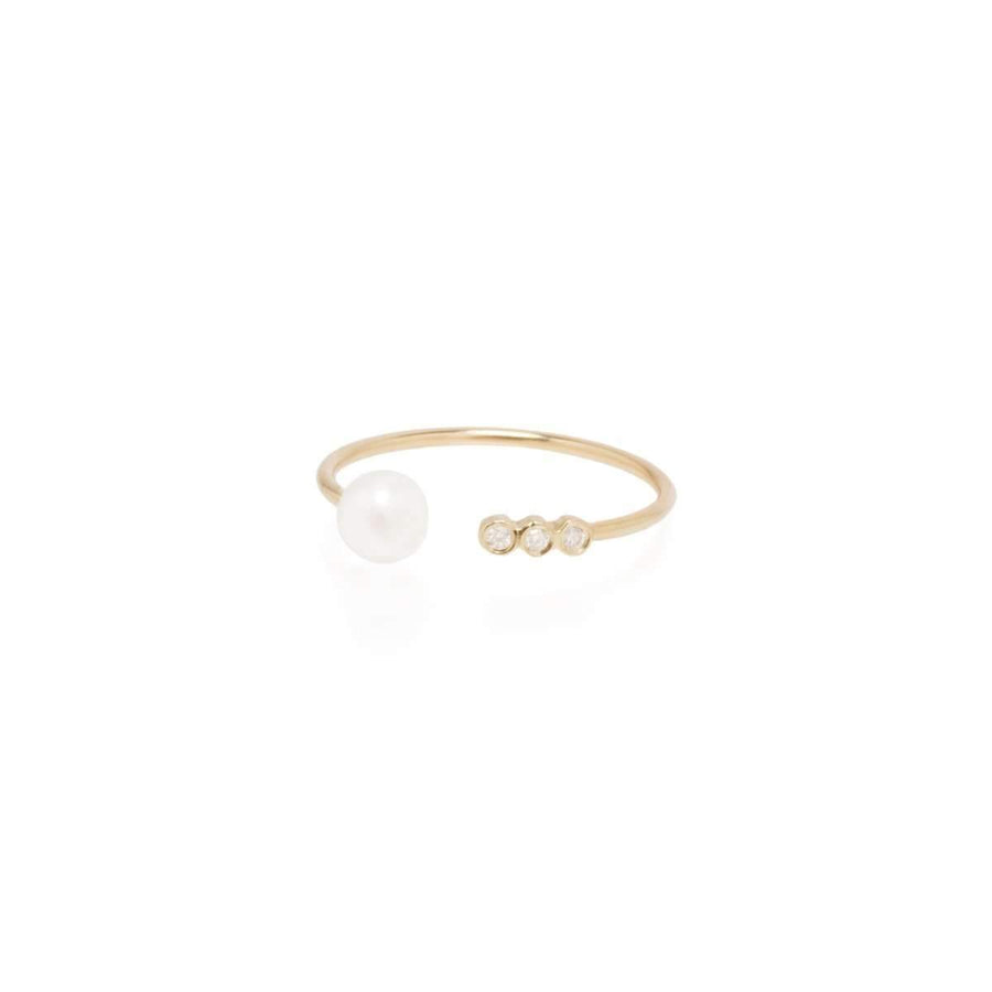 Zoe Chicco Open Pearl and 3 Diamond Ring