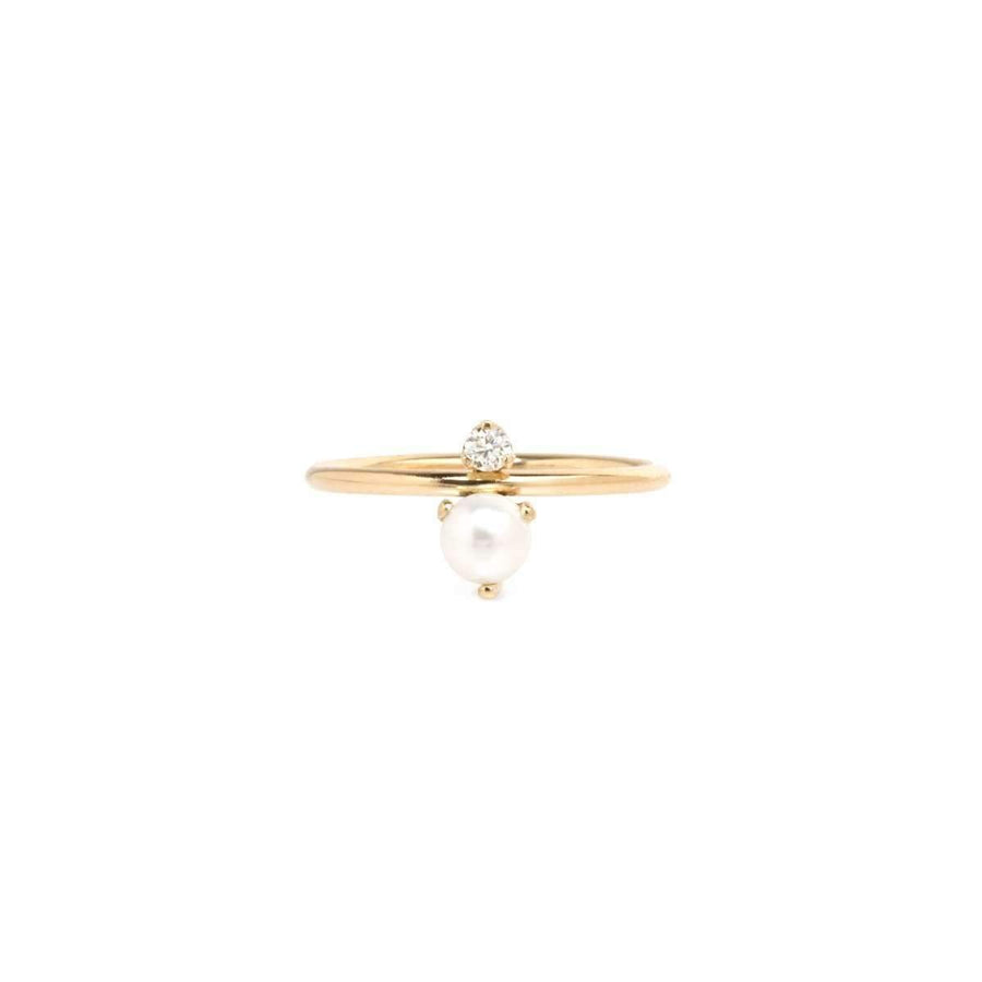 Zoe Chicco Pearl and Diamond Stacked Ring