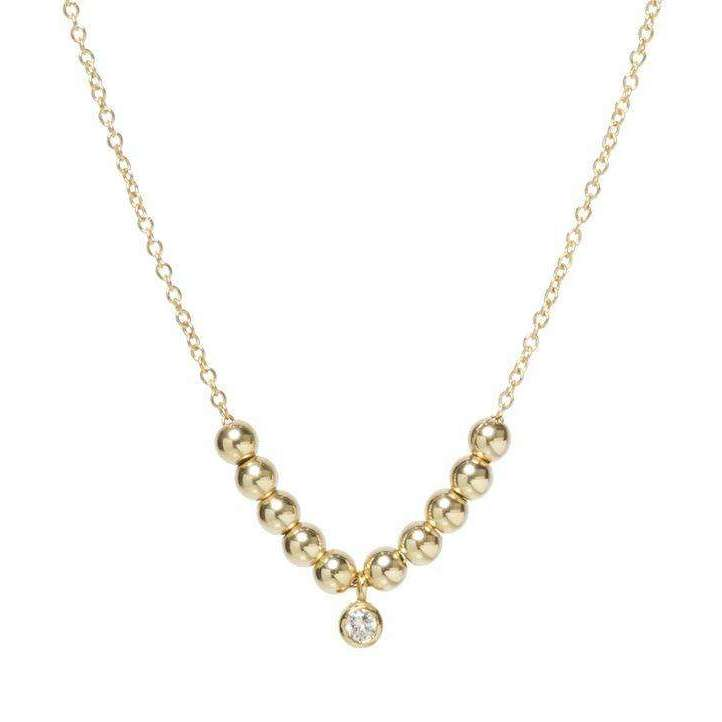 Zoe Chicco Sliding Gold Bead and Bezel Diamond Necklace