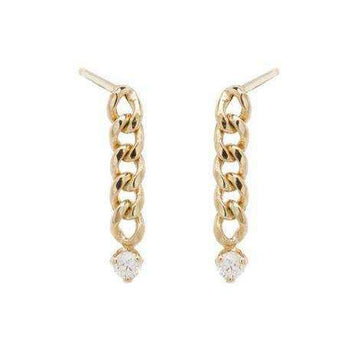 Zoe Chicco Small Curb Chain Drop Earrings with Prong Diamonds