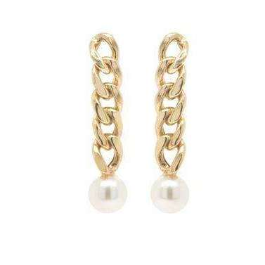 Zoe Chicco Small Curb Chain Drop Earrings with Tiny Pearls