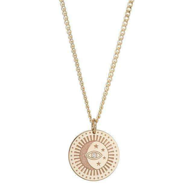 Zoe Chicco X-Small Curb Chain Small Celestial Protection Medallion with Diamond
