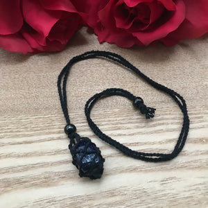Black Macrame Tumbled Stone Necklace