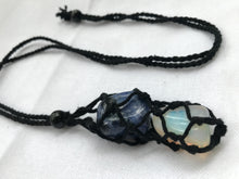 Load image into Gallery viewer, Black Macrame Tumbled Stone Necklace