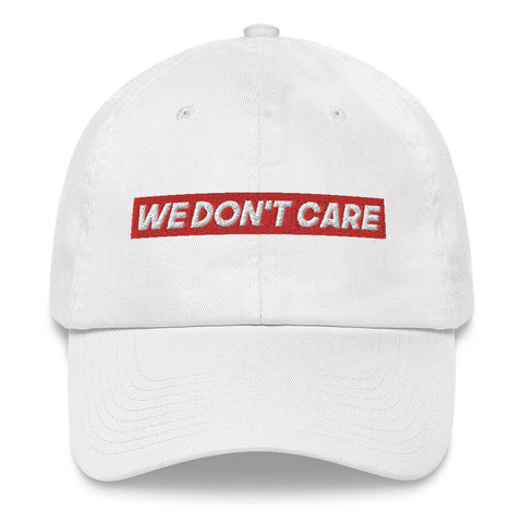 CASQUETTE BLANCHE WE DON'T CARE RED