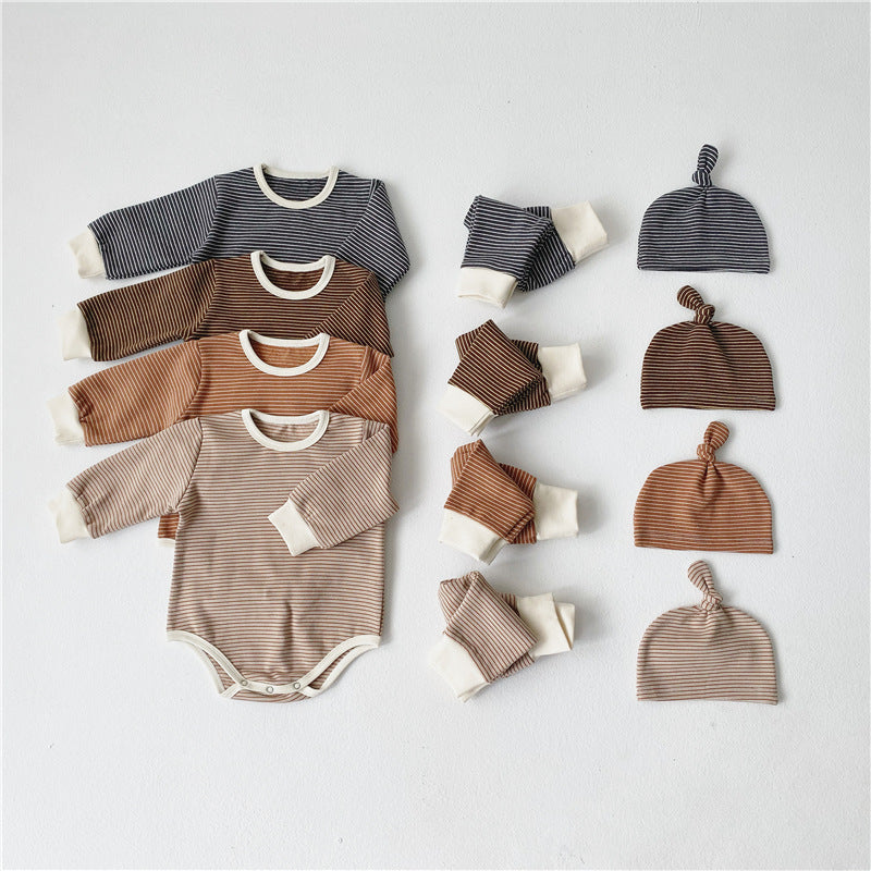 Boy / Girl Striped 2 piece set with knot hat
