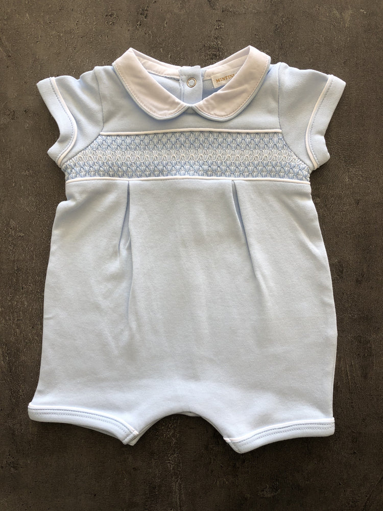 Boys Sky blue Smocked Romper