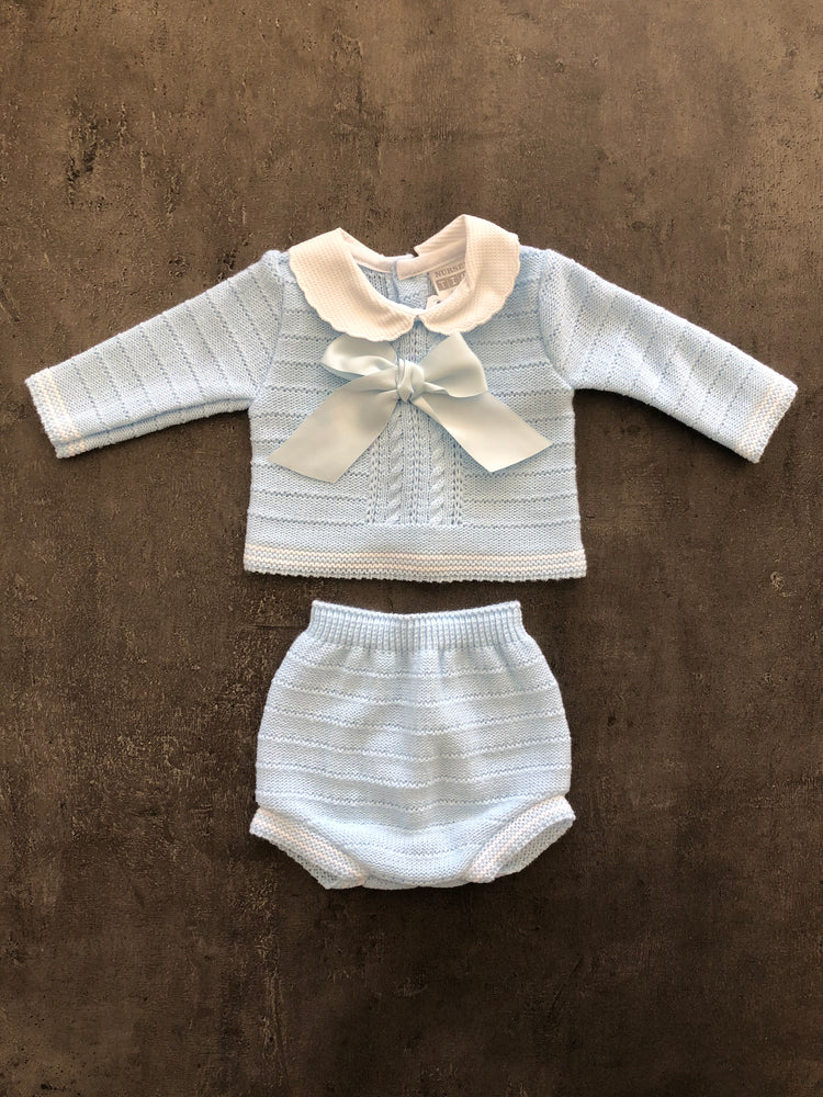 Baby Boys Knitted 2 Piece Set with large bow.