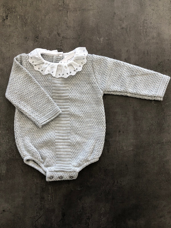 Girls Knitted Bodysuit with frilly lace collar.