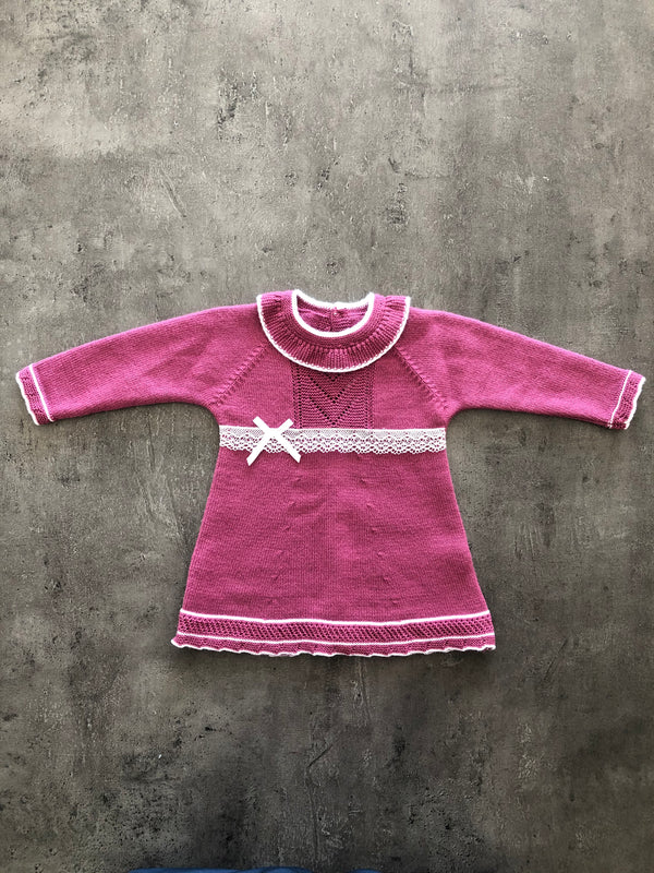 Girls Thick Marina Dress with small bow.