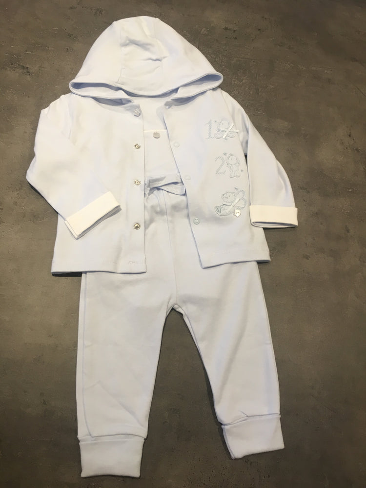 Boys Baby blue Three Piece Set. Trousers, Tee & Hoody