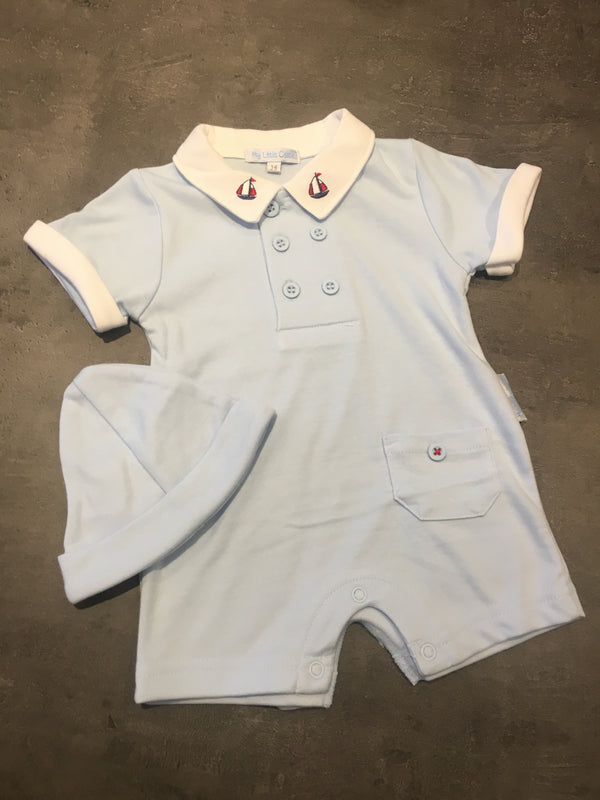 Baby boys Sailing Romper & hat