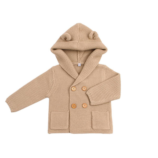 Boy / Girl Thick Biege Knitted Hooded Cardigan