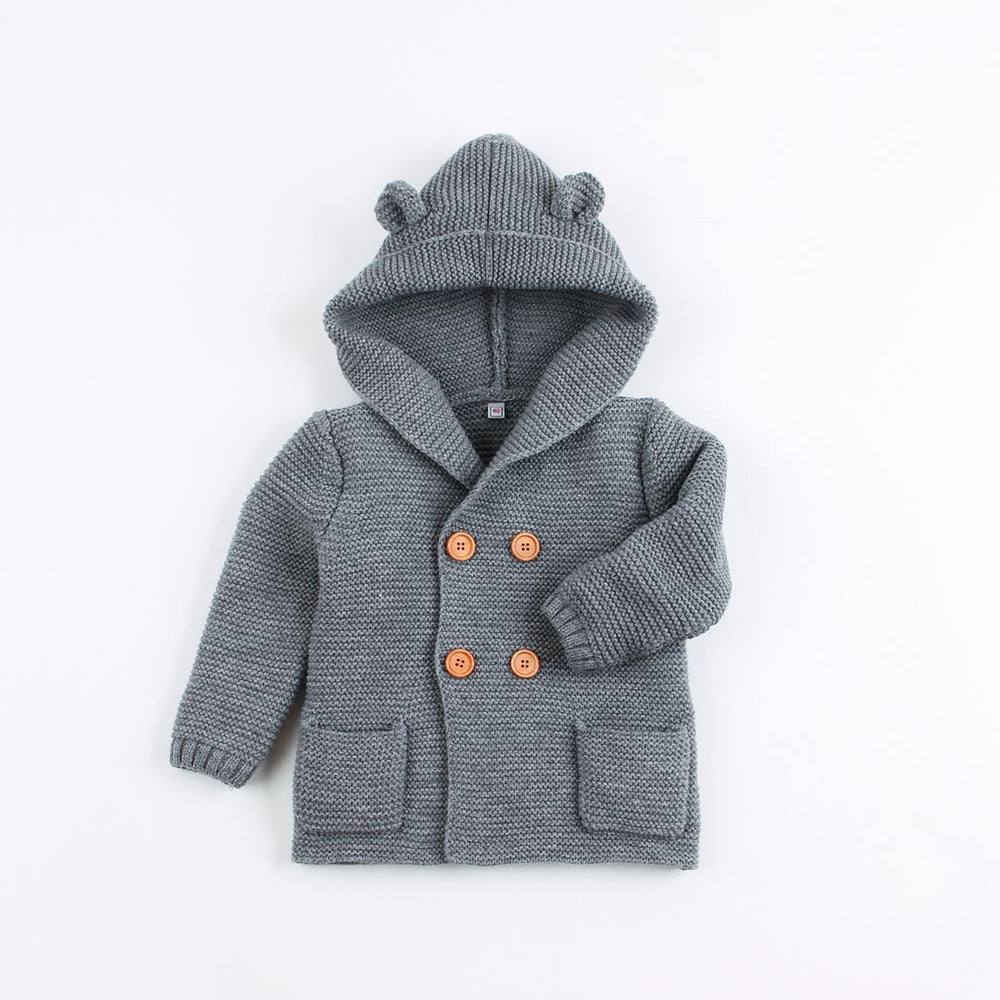 Boys Thick Grey Knitted Hooded Cardigan