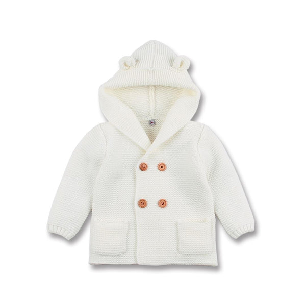 Boy / Girl Thick Cream Knitted Hooded Cardigan