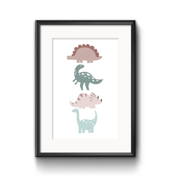 Personalised Dinosaur Trio - Peach and Aqua