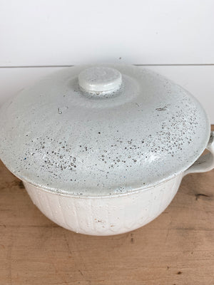 Vintage Stoneware Chamber Pot and Lid