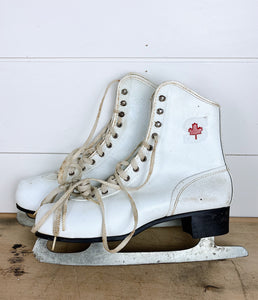 Vintage Ice Skates with The Canadian Leaf