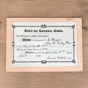 1880's Antique License/Permit
