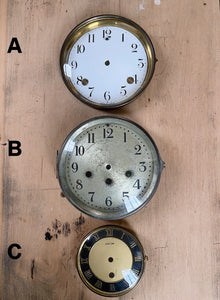Vintage Metal Clock Faces with Bezels