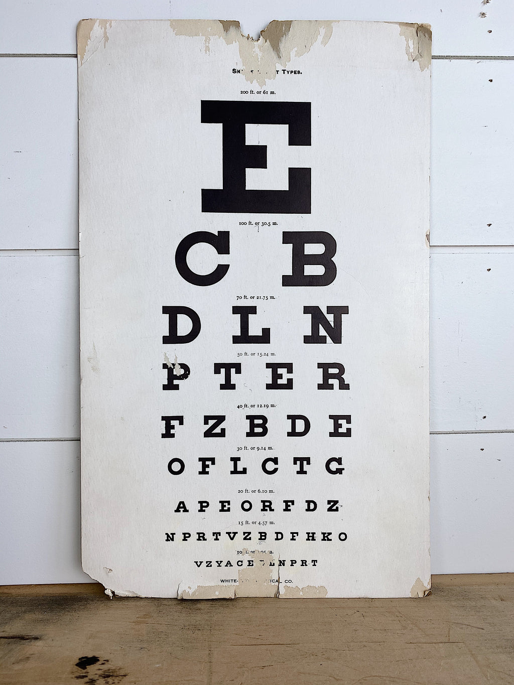 Original Vintage Eye Exam Chart