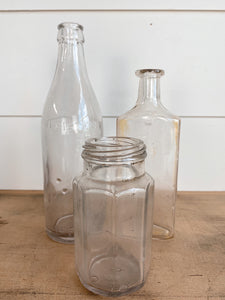 Set of Three Vintage Glass Bottles
