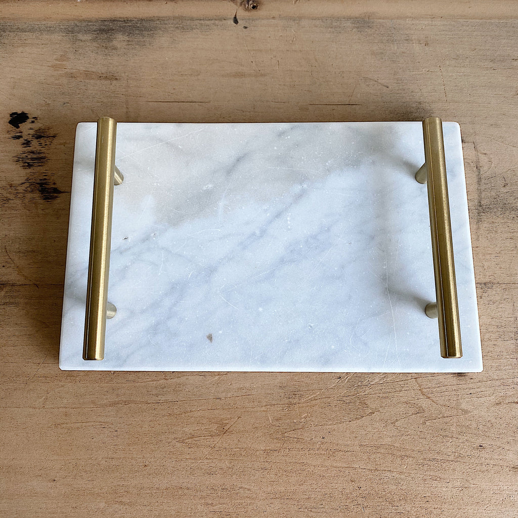 "Handmade Marble and Brass Tray (10.5"" x 6.75"")"