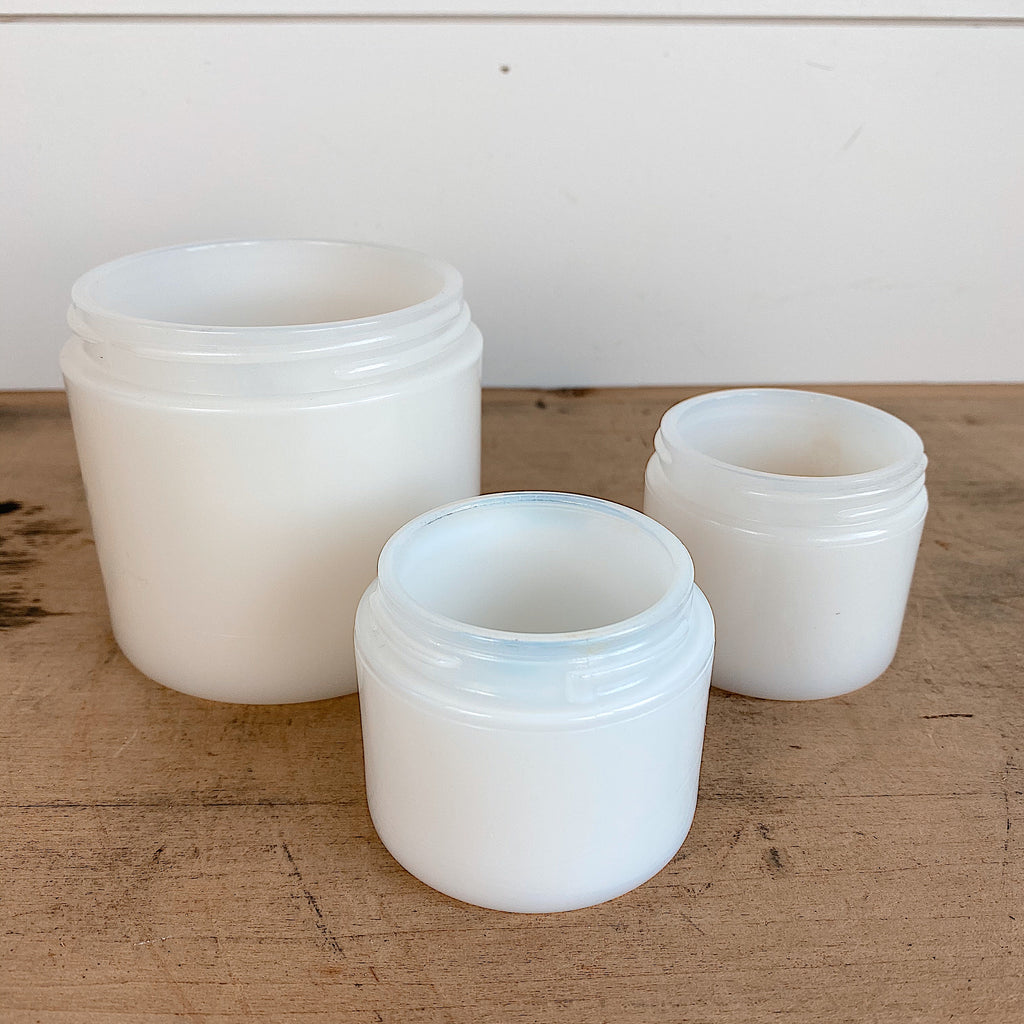 Set of Three Vintage Milk Glass Cosmetic Jars (one marked Dorothy Gray)