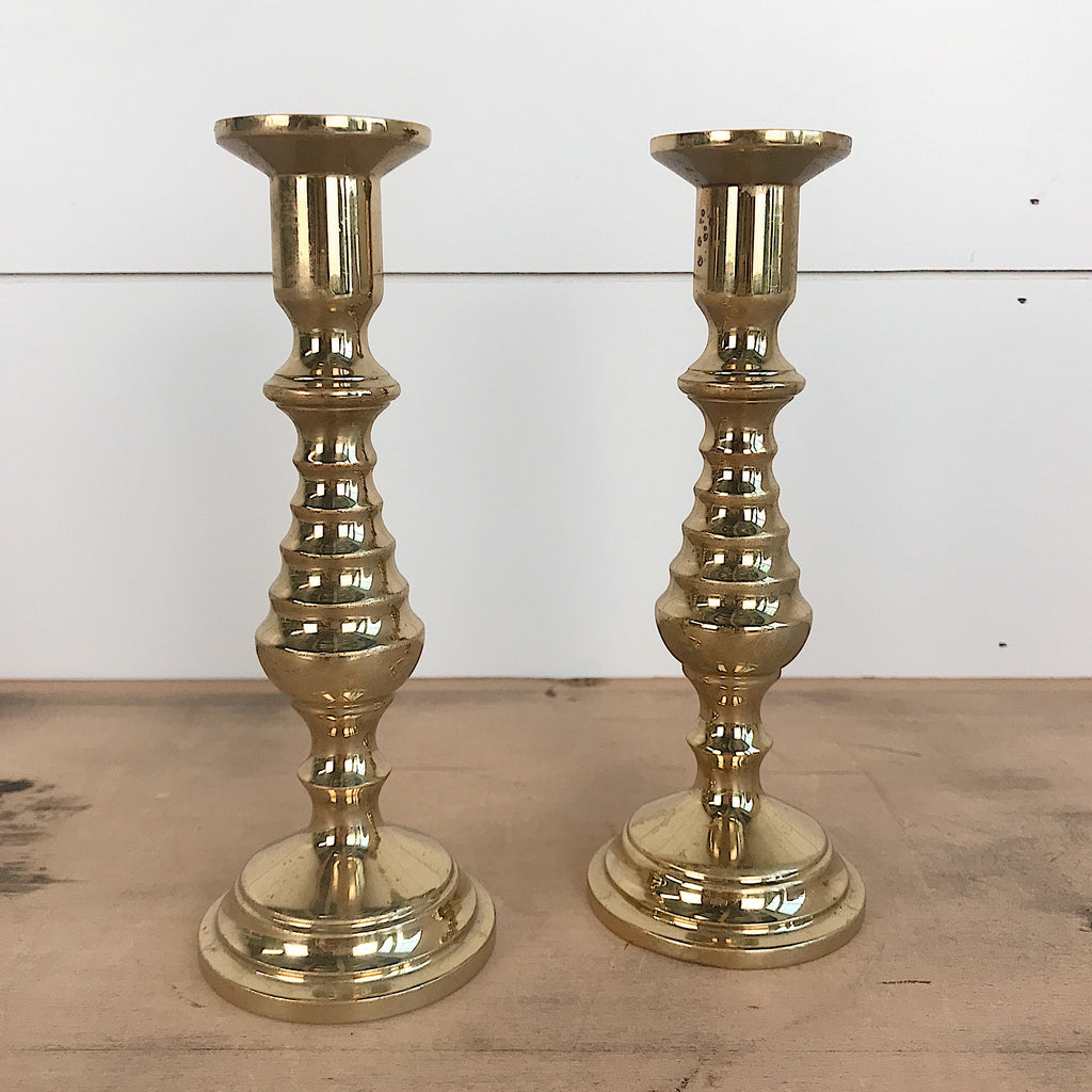 Set of Two Brass Candlesticks