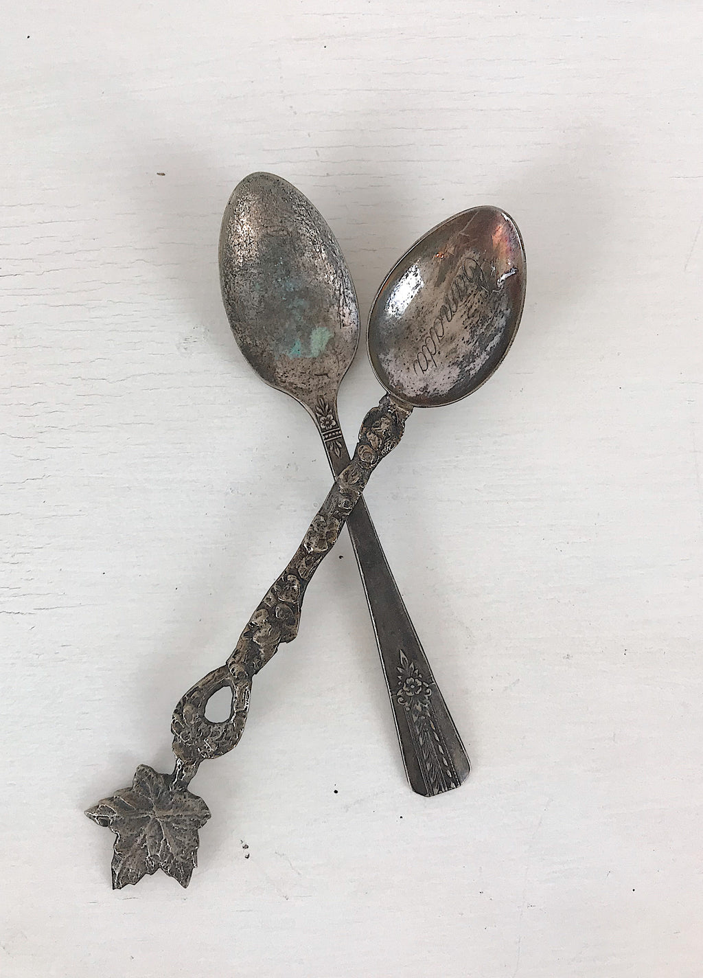 Set of Two Small Vintage Silver Spoons