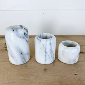 Set of Three Solid Marble Candle Holders