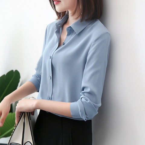 Solid Ladies Chiffon Blouse