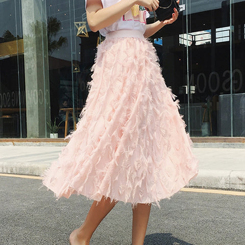 Bubble Tulle Tassel Skirt