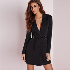 Elegant V Neck Long Blazer
